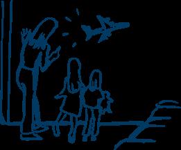 Icon mit Familie und Flugzeug - Media Frankfurt